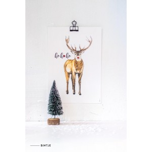 Poster A4 Prent Kerst Rendie (Rudolph)