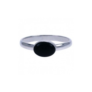 Ring Simple Onyx zilver