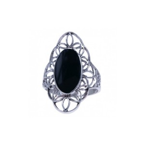 Ring big Onyx zilver