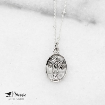 Ketting Palmboom medallion zilver