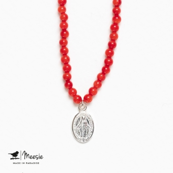 Ketting: Holy Mary rode Koraal ketting zilver